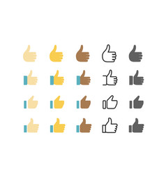 Different style web application icon thumbs up set vector