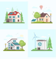 eco-friendly complex - set of modern flat design vector image