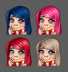 emotion icons happy female eat popcorn vector image