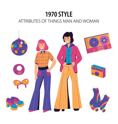 Fashion history 1970 style vector