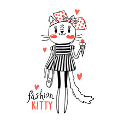fashion kawaii kitty of a cat vector image