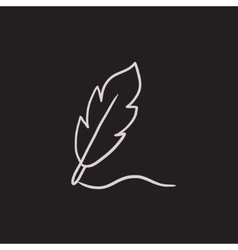 Feather sketch icon vector