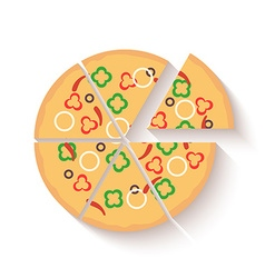 Flat design pizza icons isolated on white vector