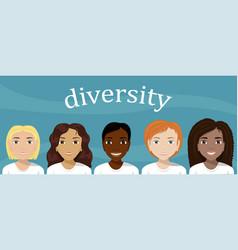 flat of women of different nationalities diversity vector image