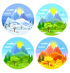 four seasons landscape with trees vector image