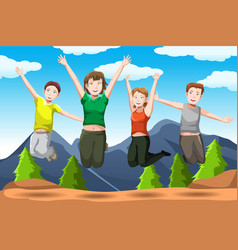 friends jumping vector image