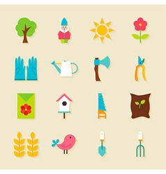 Gardening Tools Flat Objects Set with Shadow vector