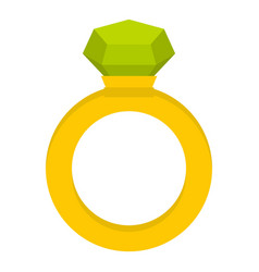Gold ring with green gem icon isolated vector