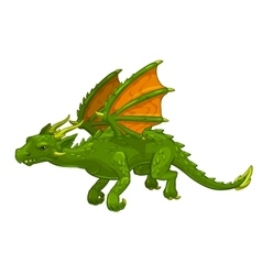 Green cartoon fantasy dragon vector