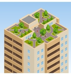 Green roofs roof garden eco roof Flat 3d vector