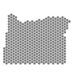 Grey hexagon oregon state map vector