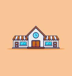 grey orange big store building vector image
