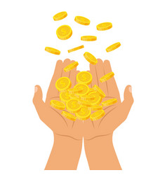 hands holding a pile of coins falling from above vector image
