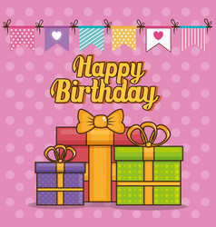 Happy birthday card with giftboxes vector