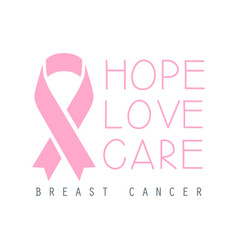 Hope love care breast cancer label vector