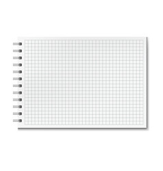 Horizontal realistic graph ruled notebook vector