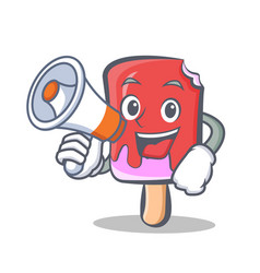 Ice cream character cartoon with megaphone vector