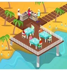 Isometric Beach Restaurant Beach BBQ vector