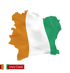 Ivory coast map with waving flag country vector