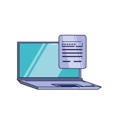 laptop computer and document with password vector image