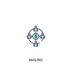 Mailing concept 2 colored icon simple line vector