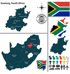 Map of gauteng south africa vector