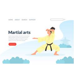 Martial arts landing page template karate judo vector