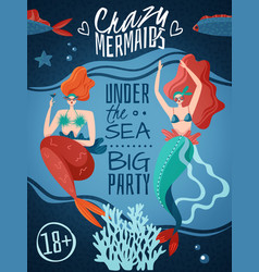Mermaids party poster vector