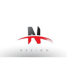 N brush logo letters with red and black swoosh vector