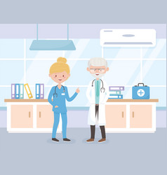 Old physician and female nurse consultation room vector