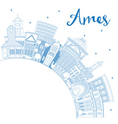 outline ames iowa skyline with blue buildings and vector image