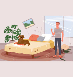 People scold dog behavior problem angry man vector