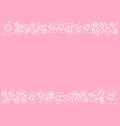 pink background with stripes of outline flowers vector image