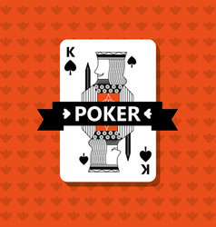 Poker king spade game banner ribbon vector