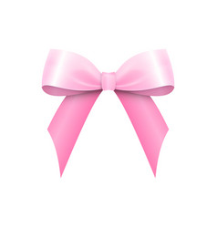 Realistic shiny pink satin bow isolated vector