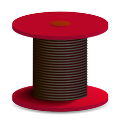Red cable coil icon realistic style vector