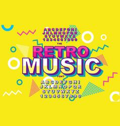 Retro alphabet font vintage alphabet 80 s vector