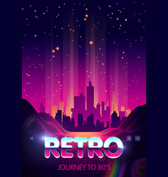 Retro futuristic skyscraper city on digital cyber vector