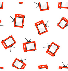 retro tv screen icon seamless pattern background vector image