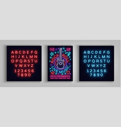 Rock n roll live music typography poster in neon vector