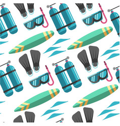 scuba diving equipment and surfboard summer vector image