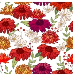 Seamless autumn pattern with asters and gerberas vector