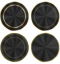 Set of colorful glossy black with gold and centric vector