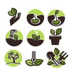 set of gardening labels vector image