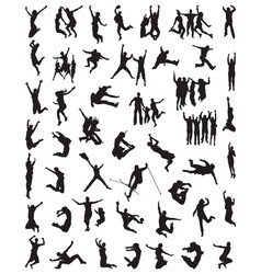 silhouette of people jumping vector image