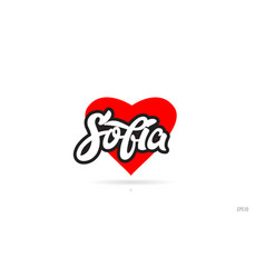 Sofia city design typography with red heart icon vector