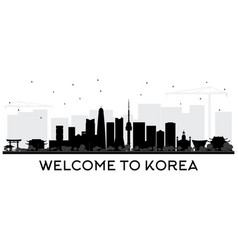 south korea city skyline silhouette with black vector image