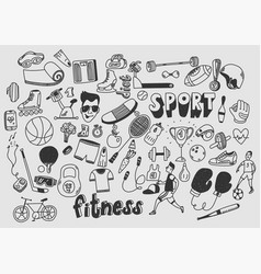 sport fitness healthy lifestyle doodle hand drawn vector image