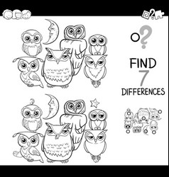Spot the difference with owls coloring book vector