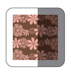 Sticker color pattern of rows flowers with stripes vector